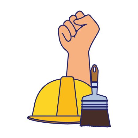 hand up and construction cone and paint brush over white background, colorful design. vector illustration Foto de archivo - 138458809