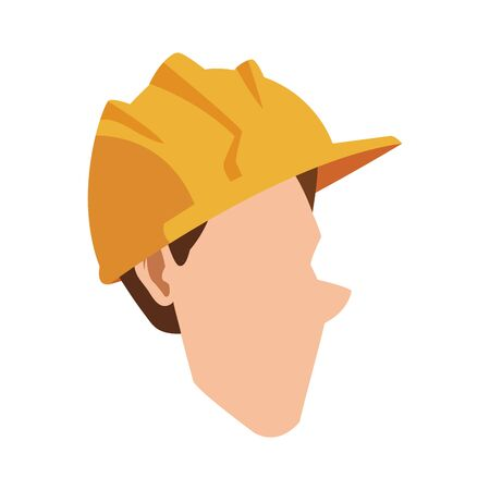 cartoon man with construction helmet icon over white background, vector illustration Foto de archivo - 138444542