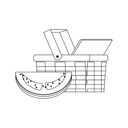 wicker basket and watermelon icon over white background, vector illustration