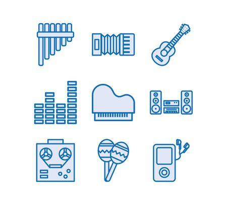bundle of music audio set icons vector illustration design Imagens - 138446137