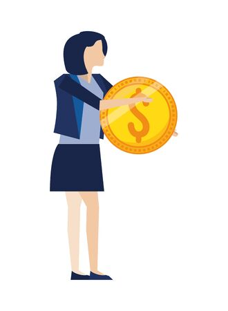 businesswoman with coin dollar money vector illustration design 일러스트