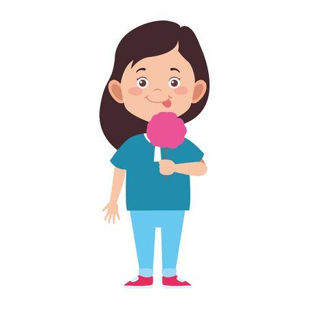 girl eating a ice cream cone over white background, vector illustration Ilustração