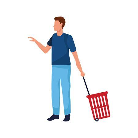 avatar man with Rolling Shopping Basket over white background, vector illustration Ilustração