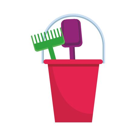 sand bucket with shovel and rake icon over white background, vector illustration Illustration