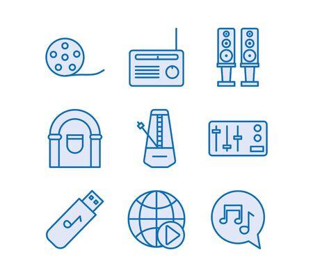 bundle of music audio set icons vector illustration design