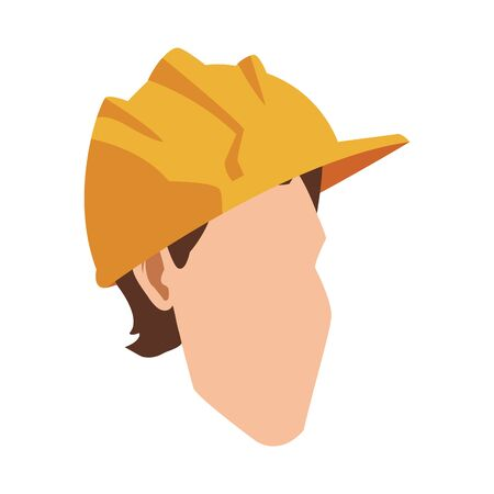 man with safety helmet icon over white background, vector illustration Foto de archivo - 138458924