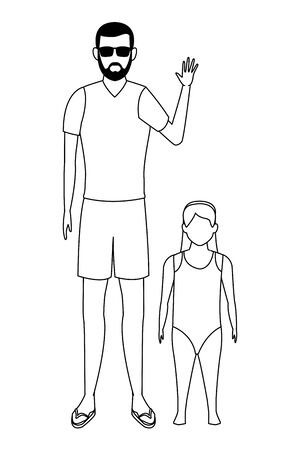 summer vacation man with girl cartoon vector illustration graphic design