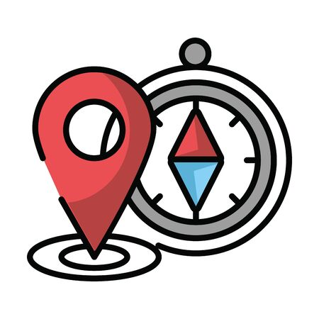 compass guide device with pin location vector illustration design Stock Illustratie