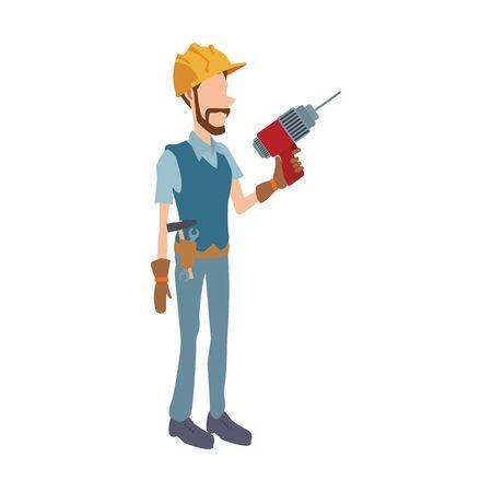 construction worker holding a drill over white background, vector illustration Ilustração