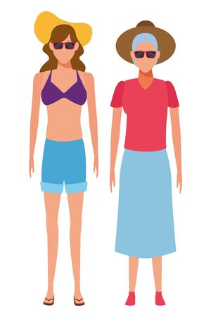 old woman and young woman avatar wearing summer clothes swimweear and sunglasses vector illustration graphic design