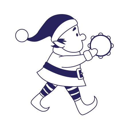 chirstmas elf playing a tambourine over white background, vector illustration Stock Illustratie