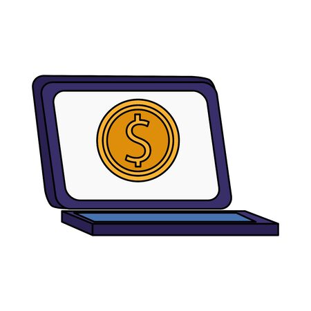 laptop computer with money coin icon over white background, colorful design, vector illustration Standard-Bild - 138454688