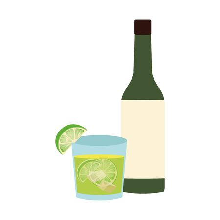 liquor bottle and cocktail glass icon over white background, vector illustration Ilustração