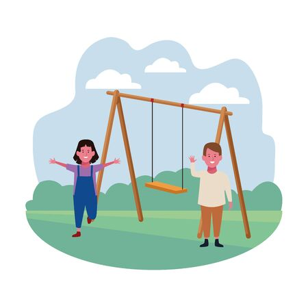 kids zone, smiling happy boy and girl with swing playground vector illustration
