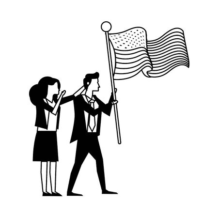 business couple with united states american flag vector illustration design