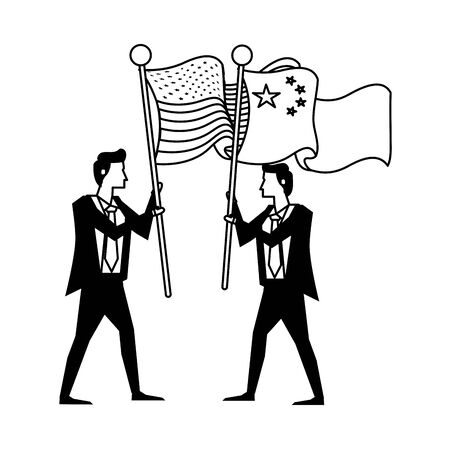businessmen with united states american and china flag vector illustration design 일러스트