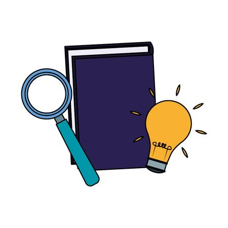 book with magnifying glass and light bulb over white background, vector illustration