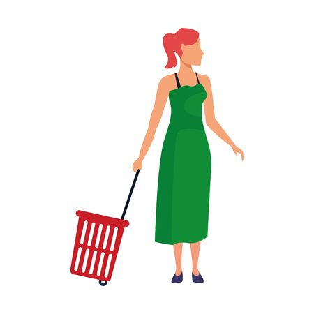 avatar woman with Rolling Shopping Basket over white background, vector illustration Ilustração