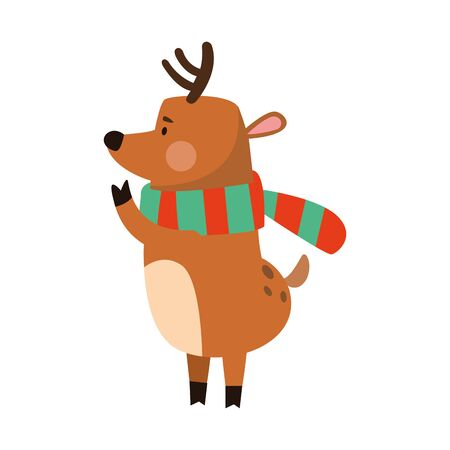 christmas deer with colorful scarf over white background, vector illustration Ilustracja