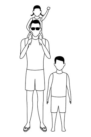 summer vacation man with children cartoon vector illustration graphic design  イラスト・ベクター素材