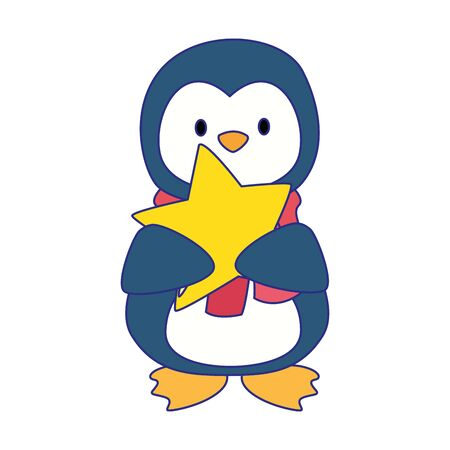 cute penguin with star icon over white background, vector illustration Ilustracja