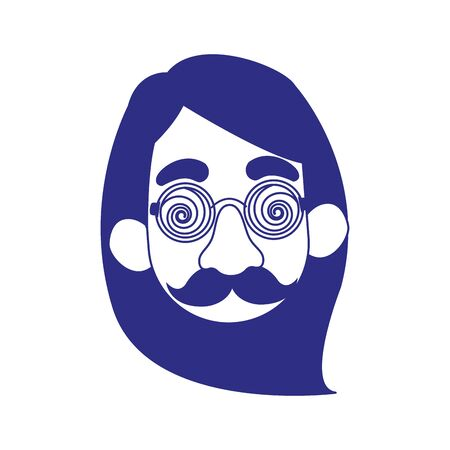 cartoon woman with crazy glasses and mustache icon over white background, vector illustration