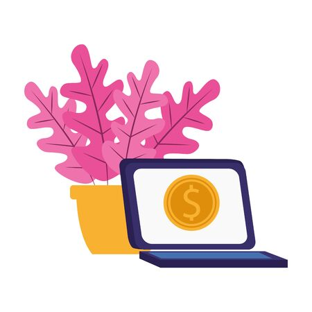 laptop computer and plant in a pot over white background, colorful design, vector illustration Standard-Bild - 138460742
