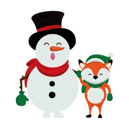 merry christmas snowman cute character vector illustration design Stock Vector - 138463710