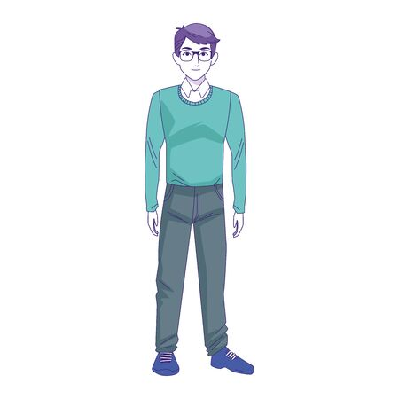 man with casual clothes standing icon over white background, vector illustration 일러스트