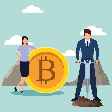 Businessman and businesswoman design, Man woman business management corporate job occupation and worker theme Vector illustration Ilustração