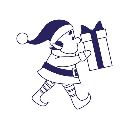 christmas elf holding a gift box over white background, vector illustration Banque d'images - 138463191