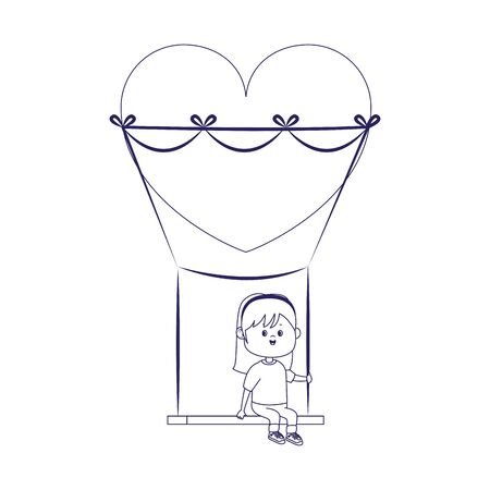 happy girl on swing with heart shape over white background, flat design, vector illustration