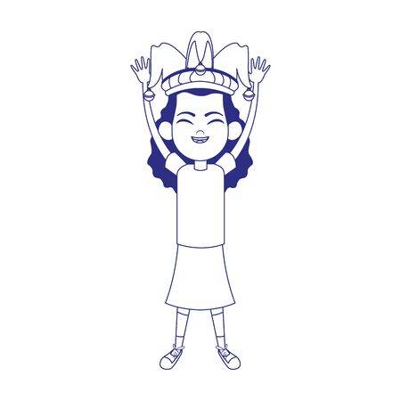 cartoon girl with jester hat icon over white background, vector illustration