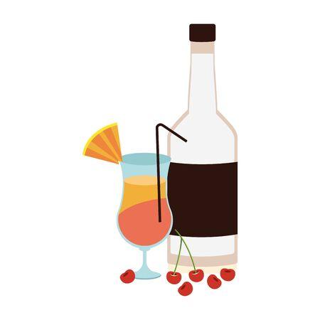 liquor bottle and sunrise cocktail icon over white background, vector illustration