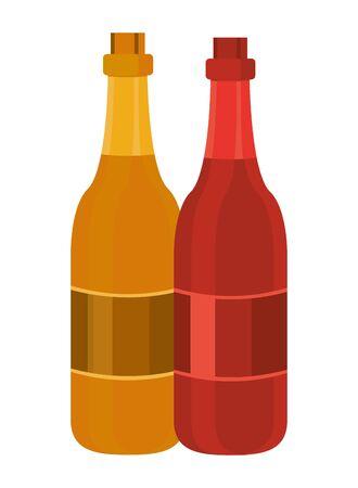 champagne bottles drinks isolated icons vector illustration design