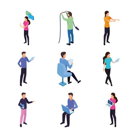 people working digital gadgets data technology internet set icons vector illustration Illustration