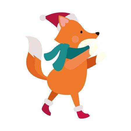christmas fox with scarf and hat over white background, vector illustration Ilustracja