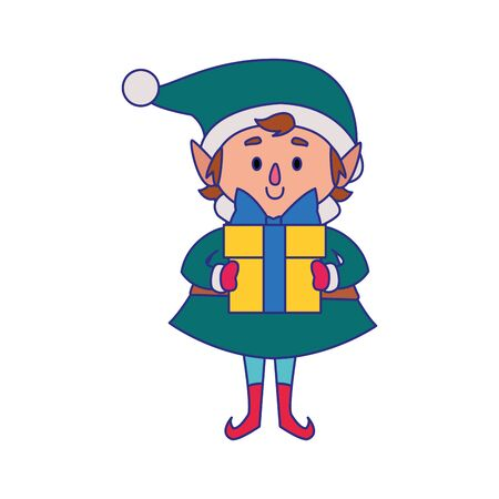 christmas elf holding a gift box over white background, vector illustration Banque d'images - 138464729