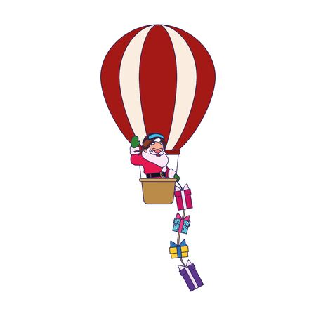 santa claus in a hot air balloon throwing gifts over white background, vector illustration Banque d'images - 138463969