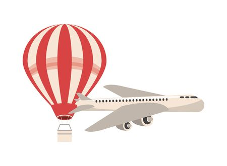 airplane and balloon air hot flying vector illustration design