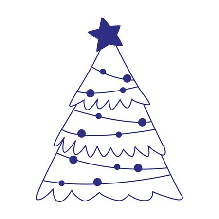 christmas tree with lights and star over white background, vector illustration Ilustracja