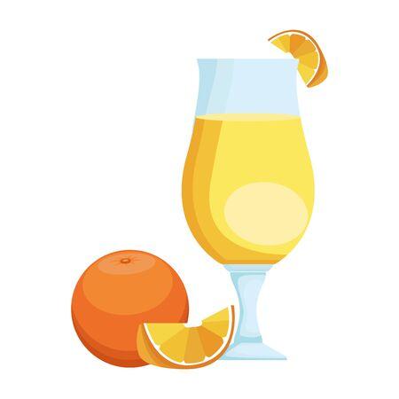orange juice glass icon over white background, vector illustration