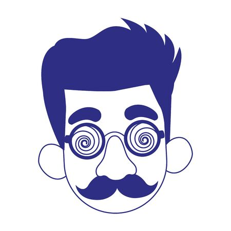 cartoon man face with crazy glasses and mustache over white background, vector illustration