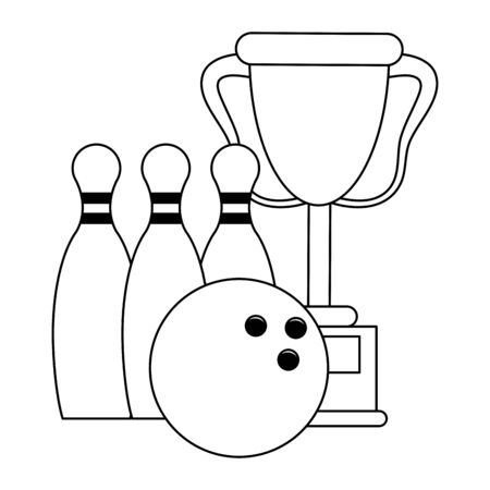 Trophy cup with pins and ball sport cartoon Designe