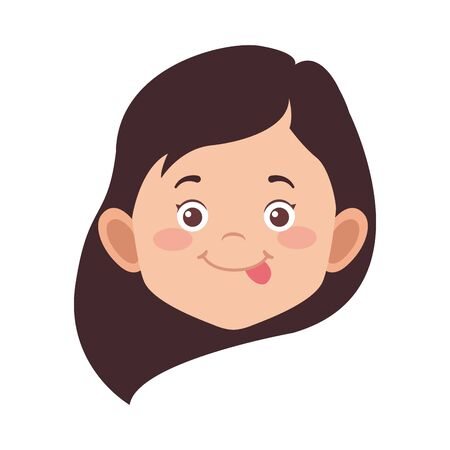cute little girl face icon over white background, vector illustration