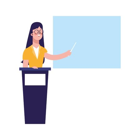 cartoon woman on tribune and pointing a board over white background, vector illustration