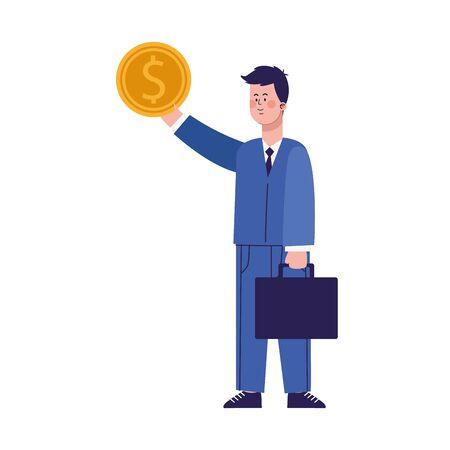 cartoon businessman with money coin and portfolio over white background, vector illustration Illusztráció