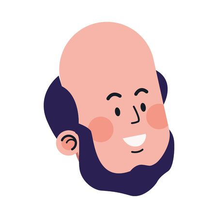 cartoon bald man smiling over white background, vector illustration