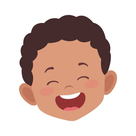 cartoon boy laughing icon over white background, vector illustration Illustration