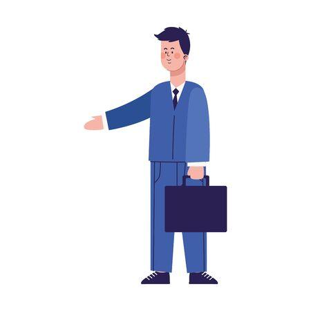 cartoon businessman holding a portfolio over white background, colorful design, vector illustration Illusztráció